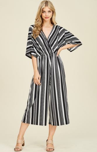 Black/White Stripe Jumpsuit