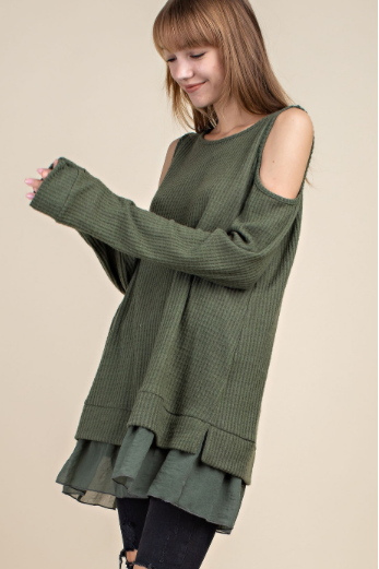 Olive Waffle Knit Cold Shoulder Tunic
