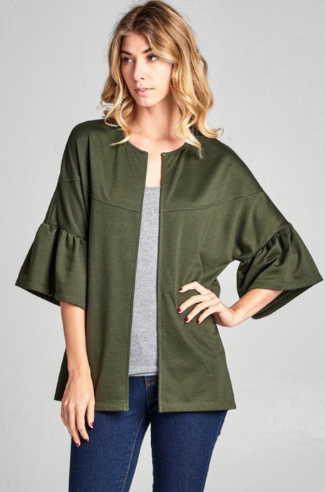 Olive Bell Sleeve Jacket
