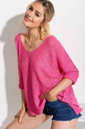 Hot Pink Open Stitch Sweater