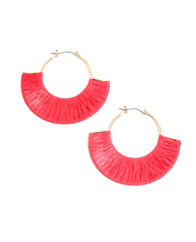 Red Raffia Wrap Earrings