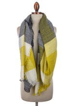 Yellow/Navy Plaid Scarf