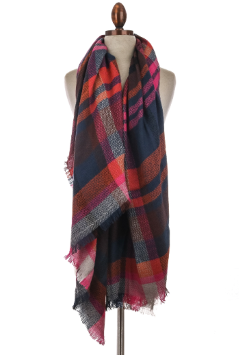 Pink Highlighted Plaid Scarf