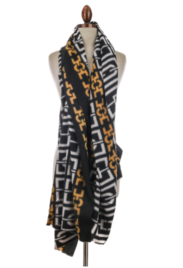 Black & Gold Chain Print Scarf