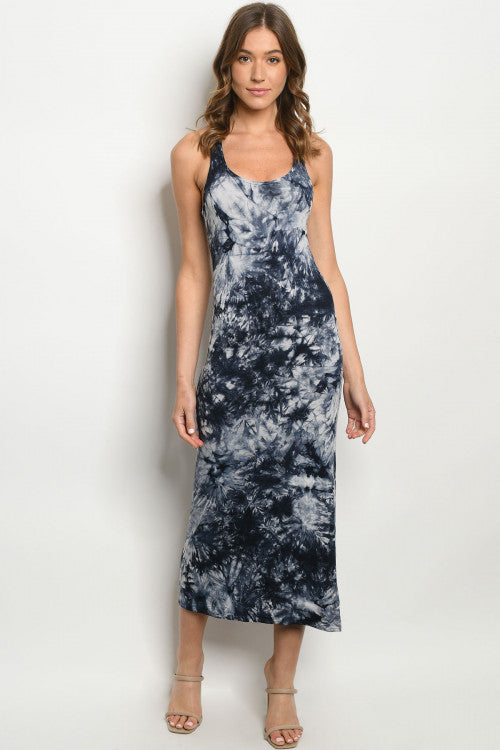 Navy Tie Dye Midi Dress