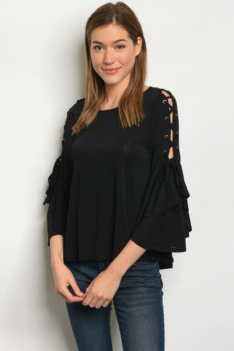 Black Ruffle Bell Sleeve Top
