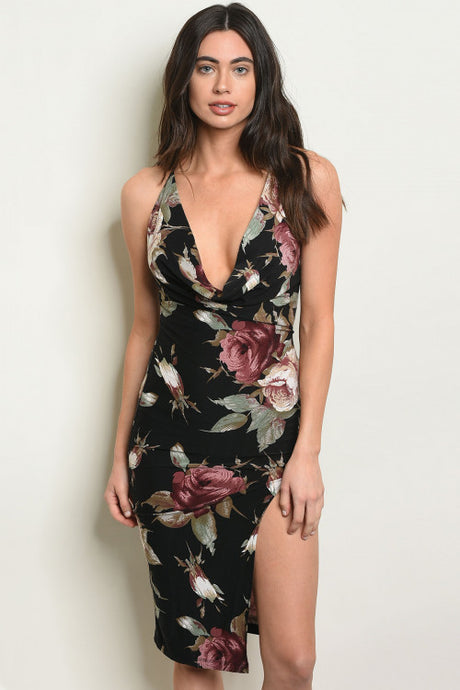Floral Side Slit Dress