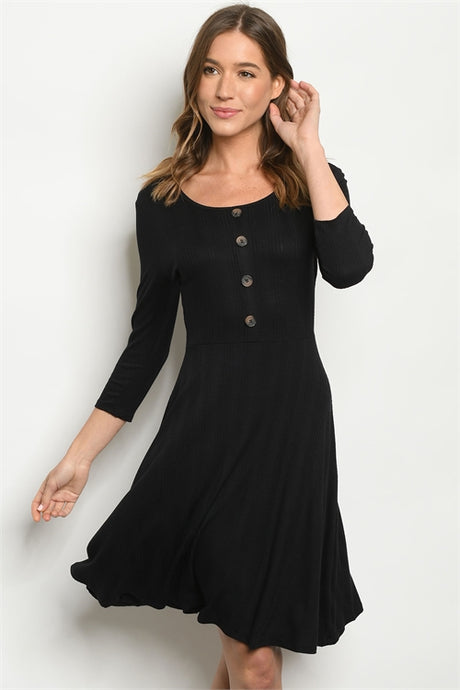Black Knit Swing Dress
