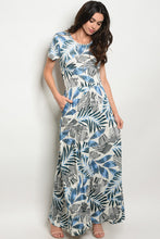 Blue Palm Maxi Dress