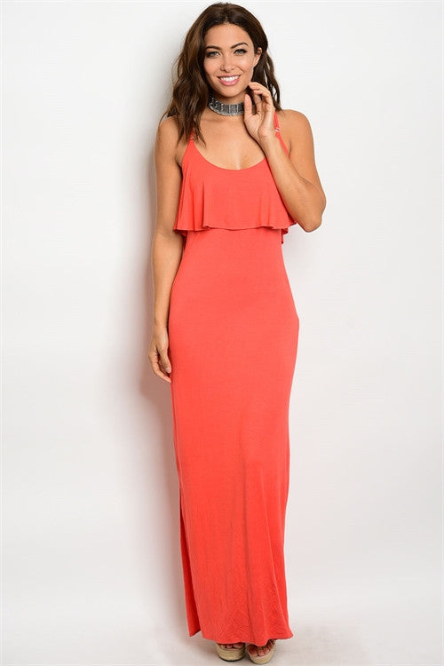 Coral Ruffle Top Maxi Dress