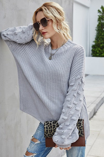 Grey Bubble Sleeve Sweater