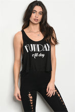 """Funday All Day"" Black Cropped Tank"