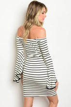 Stripe Off Shoulder Bell Sleeve Dress
