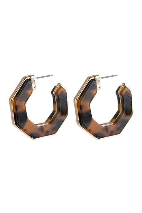 Leopard Polygon Acetate Earrings