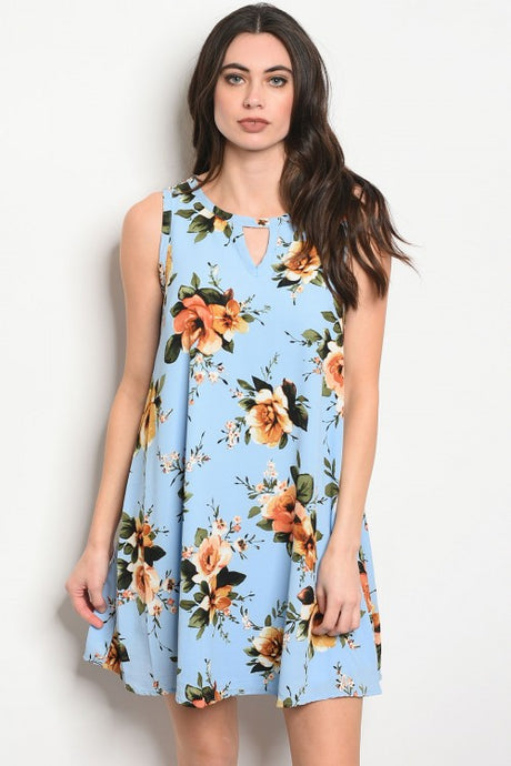 Blue Floral Print Shift Dress