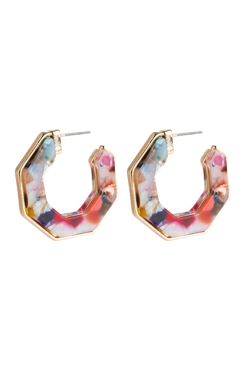Multi Polygon Acetate Earrings