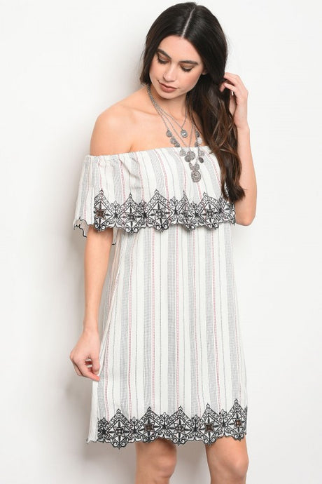 Off Shoulder Stripe Dress w/ Embroidery Detail