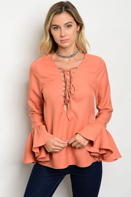 Lace up Neck Bell Sleeve Top