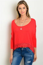 Red Crochet Detail Top