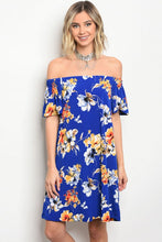 Vibrant Floral Print Off Shoulder Dress