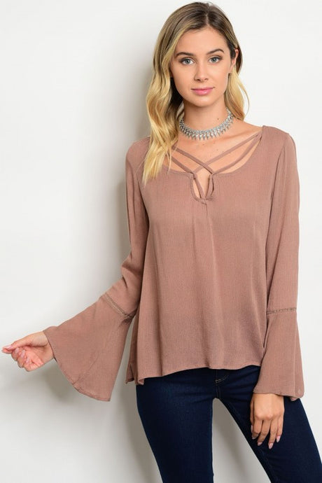 Bell Sleeve Top with Cross Front Detail