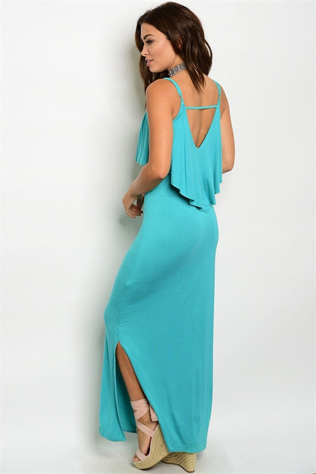 Teal Ruffle Top Maxi Dress