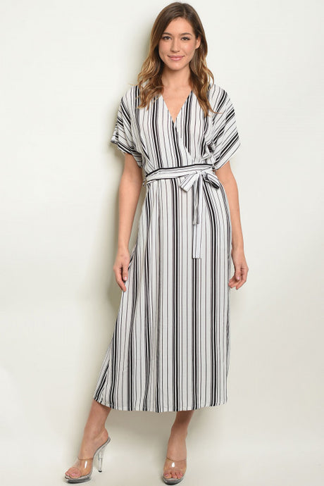 Black/White Striped Midi Dress