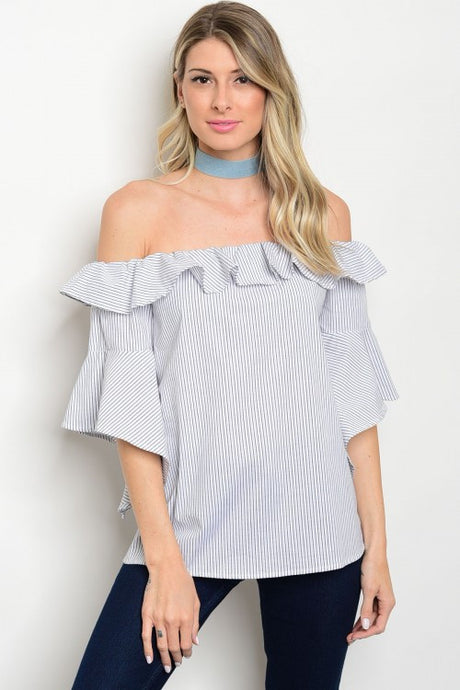 Stripe Ruffle Off Shoulder Bell Sleeve Top