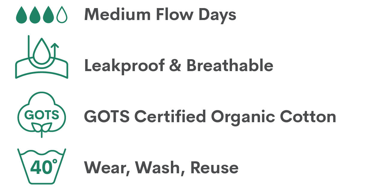 medium flow days and nights, leakproof and breathable, period undies