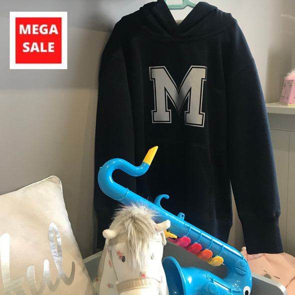 Kids Hoodie - Navy with letter M