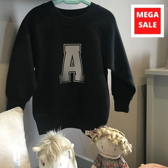 Kids Sweatshirt - Black with letter A