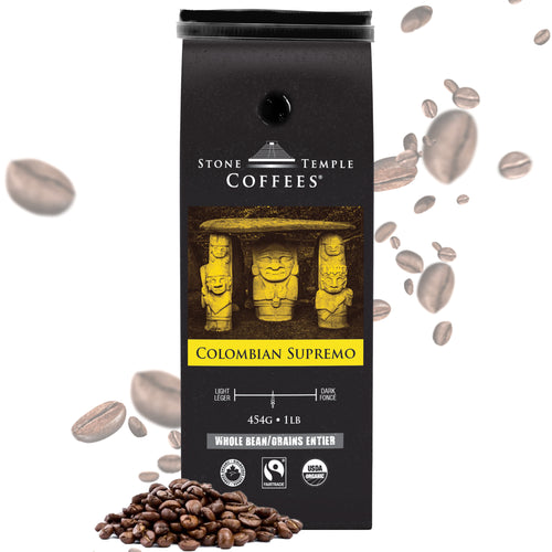 Stone Temple Coffees - Colombian Supremo, Whole Bean, Medium Roast, Coffee 1lb/454g