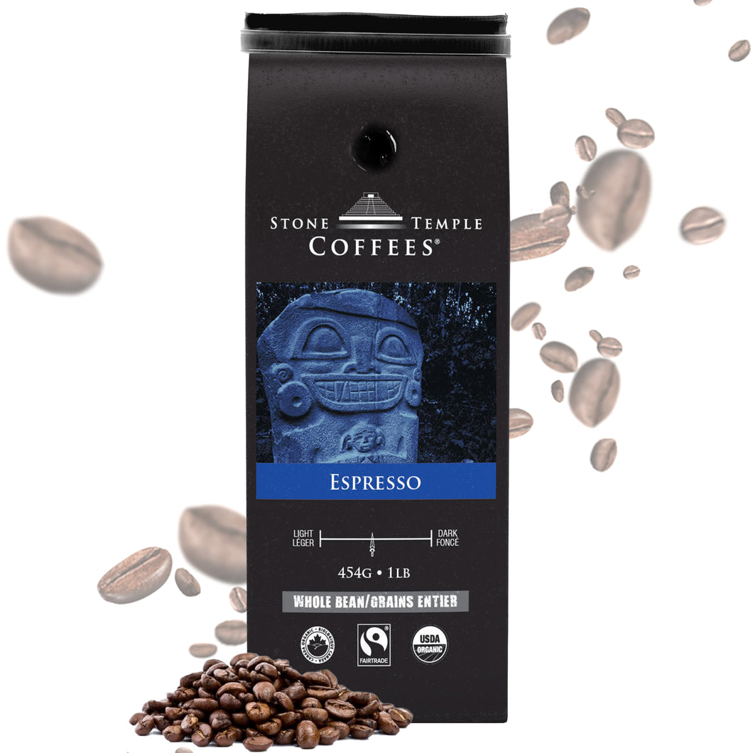 Stone Temple Coffees - Espresso, Whole Bean, Medium Roast, Certified Organic/ Fairtrade 1lb/454g