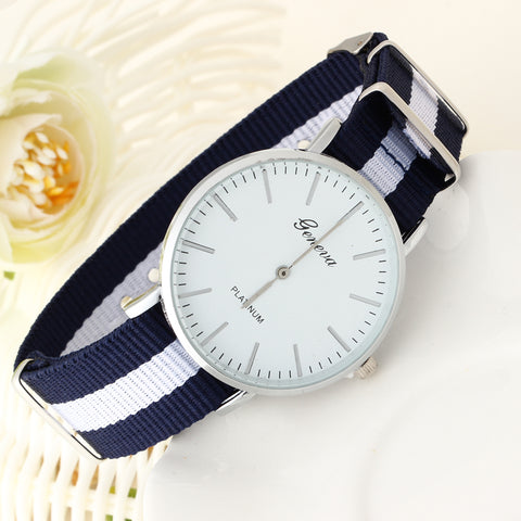 White & Blue Canvas Strap Wrist Watch