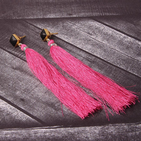 Marella Raw Stone Tassel Earrings