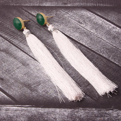 Marga Raw Stone Tassel Earrings