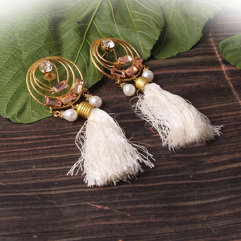 Mary Raw Stone Tassel Earrings