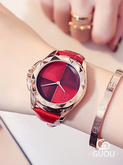 Cherry Red Golden Suave Wrist Watch
