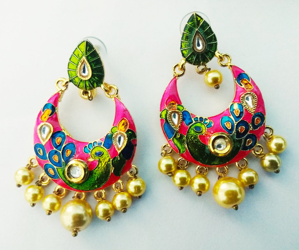 Intricate Peacock MeenaKari Earrings