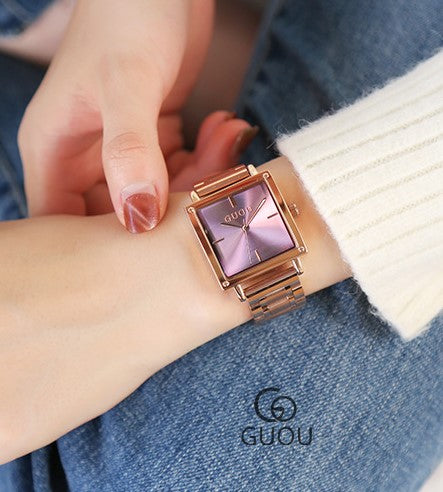 The Square Purple Gold Wrist Watch