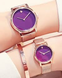 Purple Dial Rosegold Strap Wrist Watch