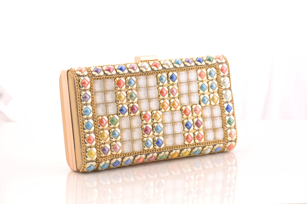 Suave Golden Clutch Bag