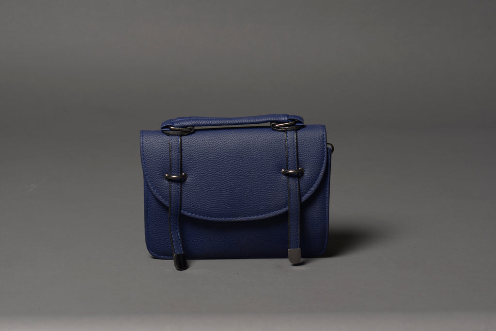 Royal Blue Minimalist Vegan Leather Bag