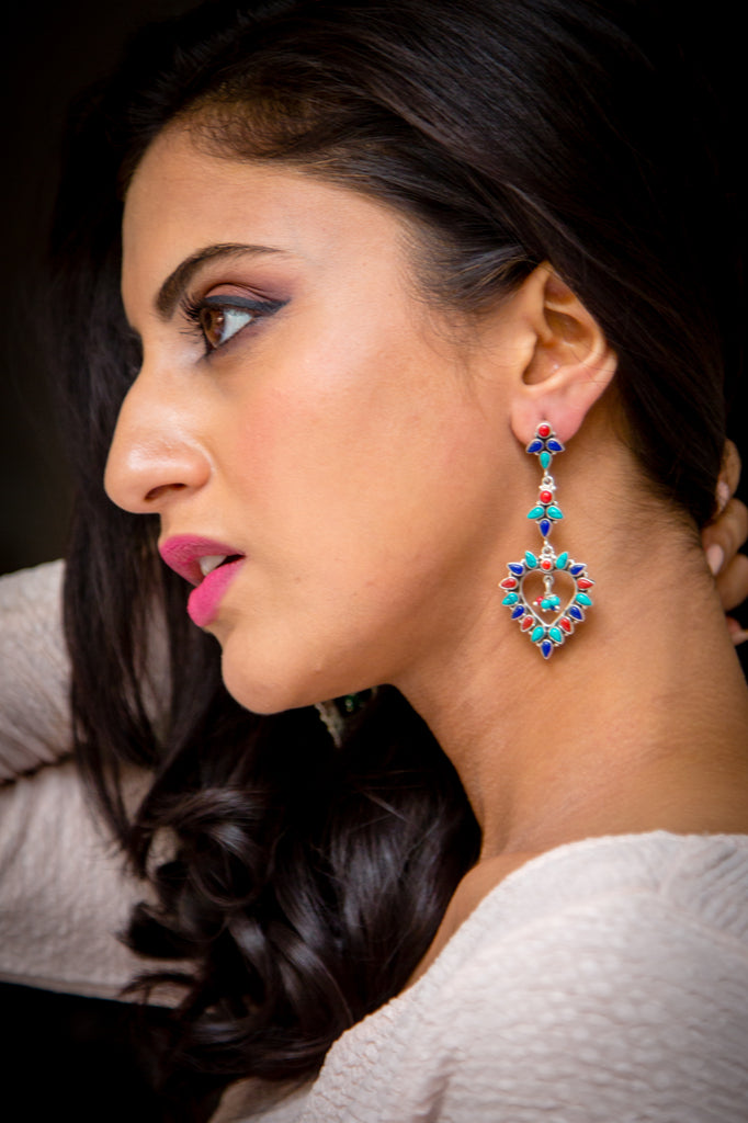 Colorful Multistone Earrings (Pure Silver)