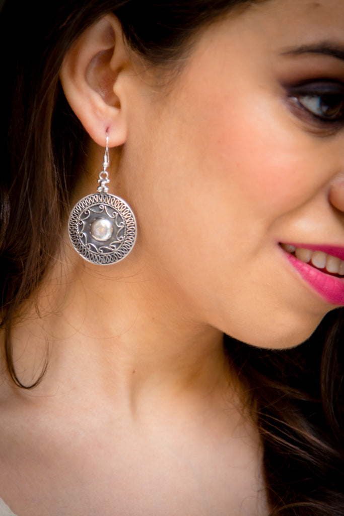 92.5 Sterling Silver Intricate Disc Danglers