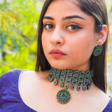 Deepika Emerald Diamond Necklace Set