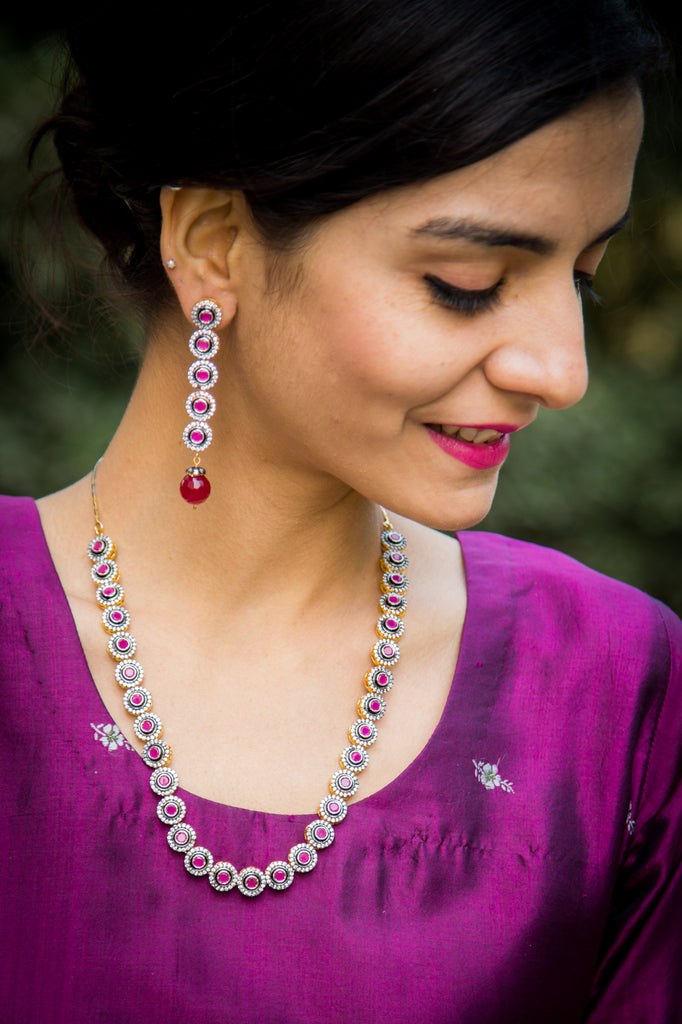 Giva Ruby Diamond Necklace Set