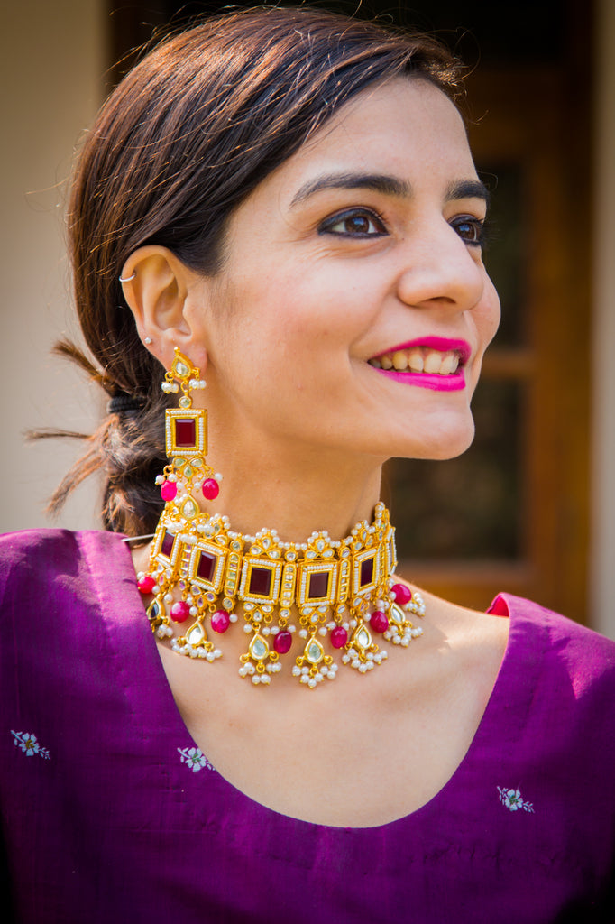 Kakoli Ruby Choker Set
