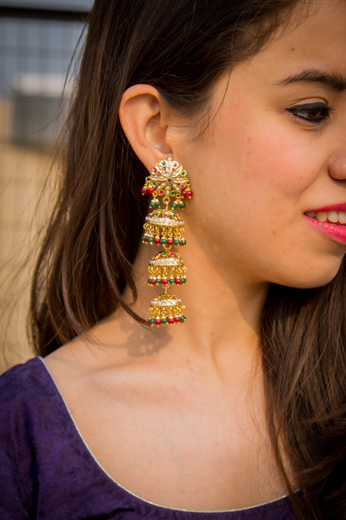 Riya Jadau Chandelier Earrings