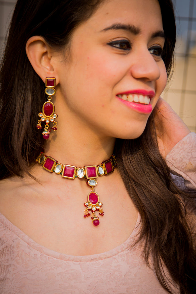 Sundarta Ruby Necklace Set